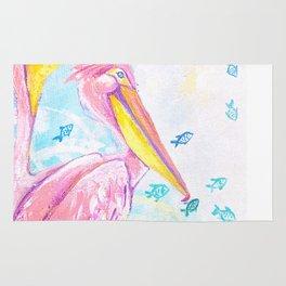 Pink pelicans Rug