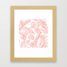 Tropical Palm Leaves Hibiscus Flowers Coral Pink Framed Art Print