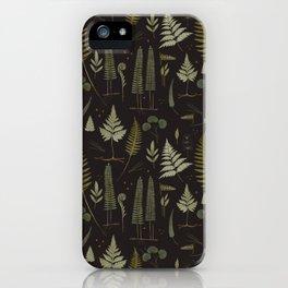 Fern pattern black iPhone Case