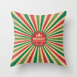 Retro Style Christmas With Sunburst Background Throw Pillow