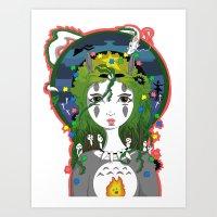 miyazaki Art Prints featuring Miyazaki Love by  Dream Illusions