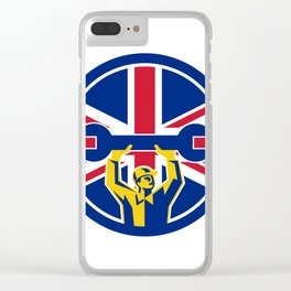 British Mechanic Union Jack Flag Icon Clear iPhone Case