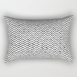 Black & White Hand Drawn ZigZag Pattern Rectangular Pillow