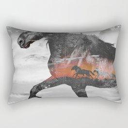 Black Horse Sunset Run Rectangular Pillow