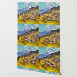 The Matterhorn 1925 Hiroshi Yoshida Vintage Japanese Woodblock Print Wallpaper
