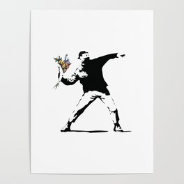 Banksy Flower Thrower Poster