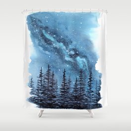 """Adventure Awaits"" watercolor galaxy landscape illustration Shower Curtain"