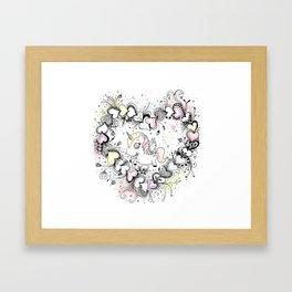 Unicorn and Hearts Art Illustration Framed Art Print