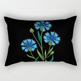 Embroidered Flowers on Black 08 Rectangular Pillow
