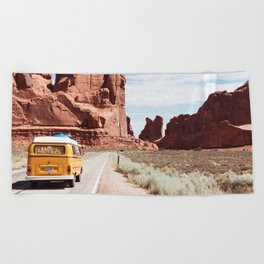Road Trip Landscape Scene Beach Towel