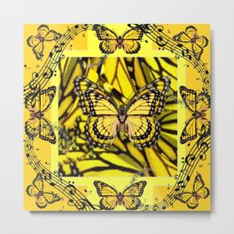 GOLDEN YELLOW MONARCH BUTTERFLIES MELODY Metal Print