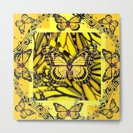 GOLDEN YELLOW MONARCH BUTTERFLIES MELODY Metal Print