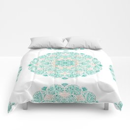 SO SHELLULAR Mint + Rose Gold Shell Mandala Comforters