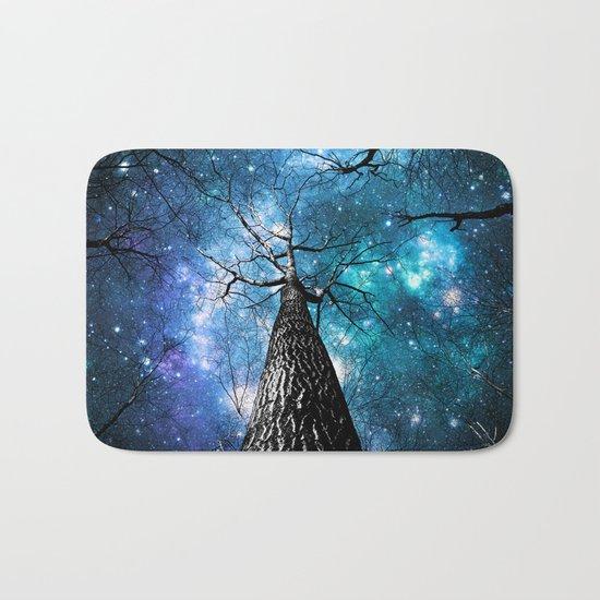 Wintry Trees Galaxy Skies Teal Blue Violet Bath Mat