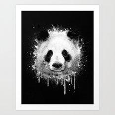 Cool Abstract Graffiti Watercolor Panda Portrait in Black & White  Art Print