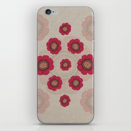 Pata Pattern with Red Flowers on Paper iPhone Skin