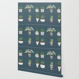 Paper Plants in Vases Wallpaper
