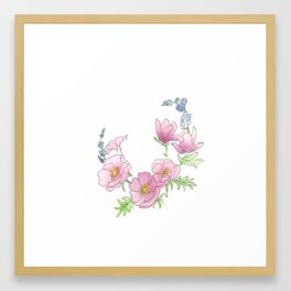 Scribble Watercolor Florals Framed Art Print