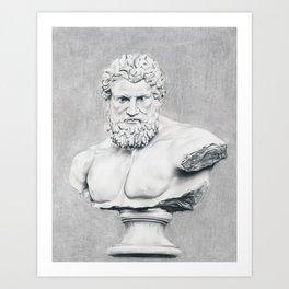 Hercules Bust Sculpture Art Print