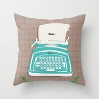 typewriter Throw Pillows featuring typewriter by WreckThisGirl