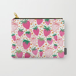 Pink Strawberries Printed Pttern Cute Pink Decor Carry-All Pouch