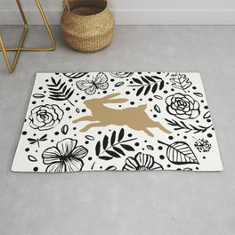 Beige rabbit with black and white floral circle Rug