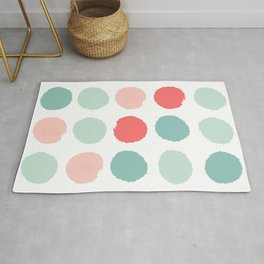 Dots painted coral minimal mint teal bright southern charleston decor colors Rug