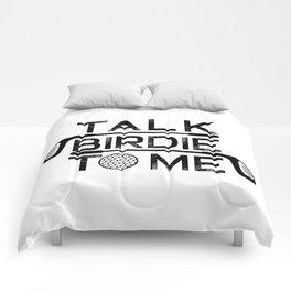 Talk Birdie To Me - Funny Golf Golfer Golfing Gift Comforters