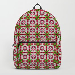 Red cross flower on a squared grid Backpack