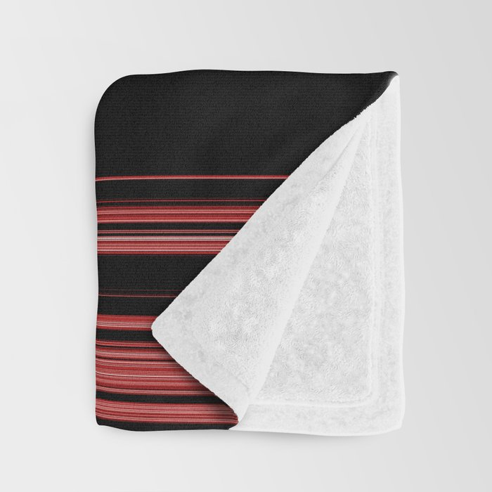 Red, Black and White with Gray Stripes Throw Blanket