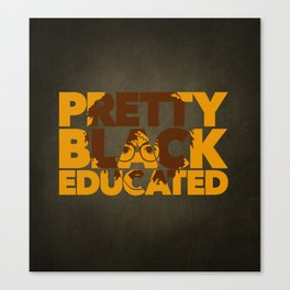 Pretty, Black and Educated African American Black College Woman Canvas Print