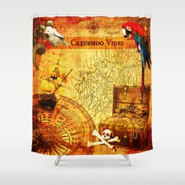 Credendo Vides Old Pirate Map Shower Curtain