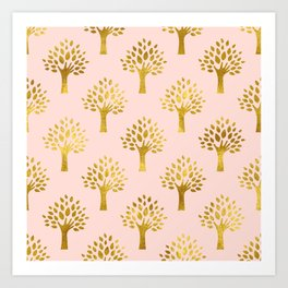 Pink Gold Foil 02 Art Print