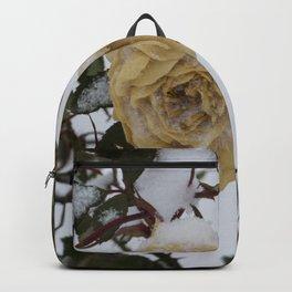 Snow covered white rose Backpack