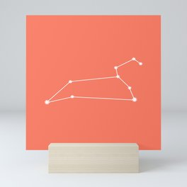 Leo Zodiac Constellation - Coral Red Mini Art Print
