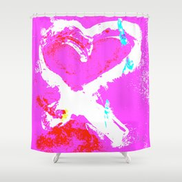 Pink Graffiti Ribbon for Breast Cancer Research by Jeffrey G. Rosenberg Shower Curtain