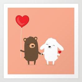 Cute cartoon bear and bunny rabbit holding hands Art Print