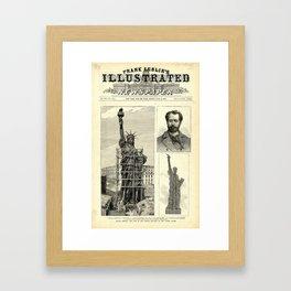 Statue of Liberty Construction Illustration Framed Art Print