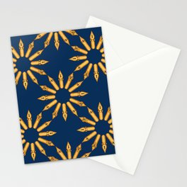 Dip Pen Nibs Circle (Navy and Yellow Ochre) Stationery Cards