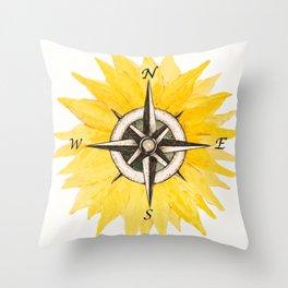 Compass  Sunflower Throw Pillow