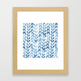 Blue Chevron Watercolour Framed Art Print