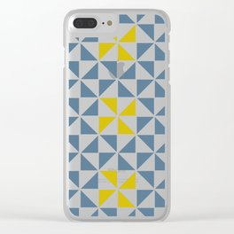 Pinwheel Quilt Blue and Yellow Clear iPhone Case