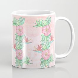 Tropical flowers and leaves watercolor Coffee Mug