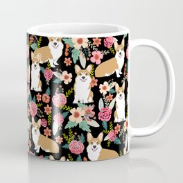 Corgi Florals - vintage corgi and florals gift great for corgi lovers, corgi gift, corgi florals, co Coffee Mug