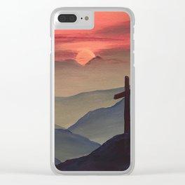 Sunset Cross Landscape Clear iPhone Case