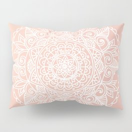White Mandala on Rose Gold Pillow Sham