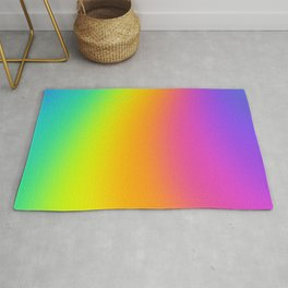 Bright Curved Rainbow Gradient Rug