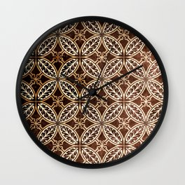 Exquisite Vintage Paper Pattern in Coffee Bean Hues Wall Clock