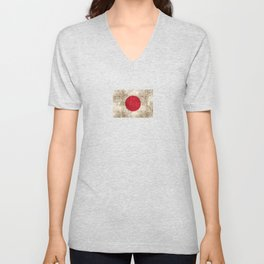 Vintage Aged and Scratched Japanese Flag Unisex V-Neck