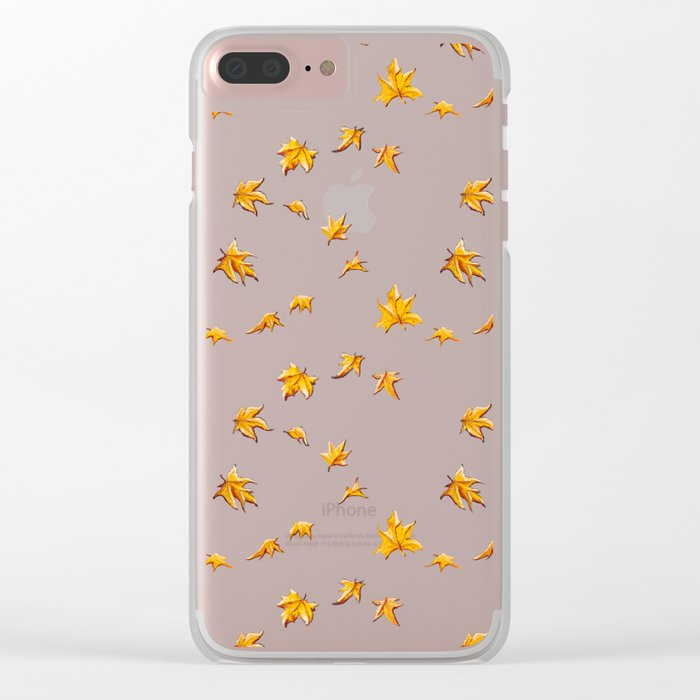 Leaves pattern Clear iPhone Case